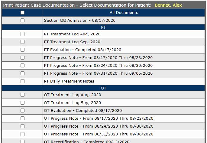 Patient Case Selective Document Print