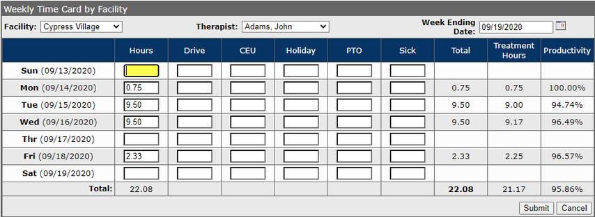 Timecard Input Manager