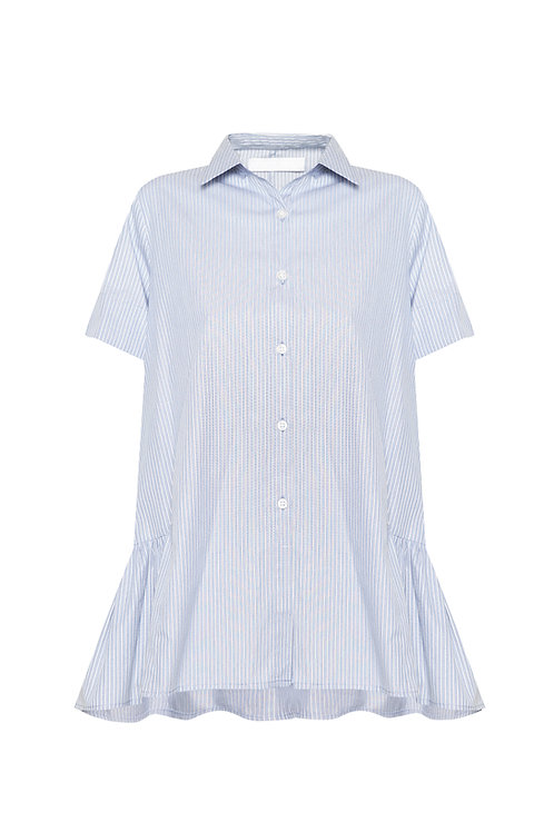 Short Sleeve Ruffle Shirt - light blue