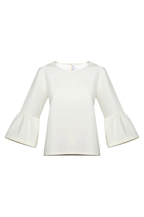 Lantern Sleeve Top - White
