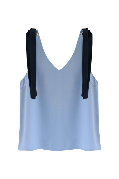 Tie Shoulder Top - sky