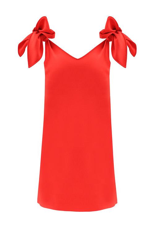 Petal Tie Dress - Red