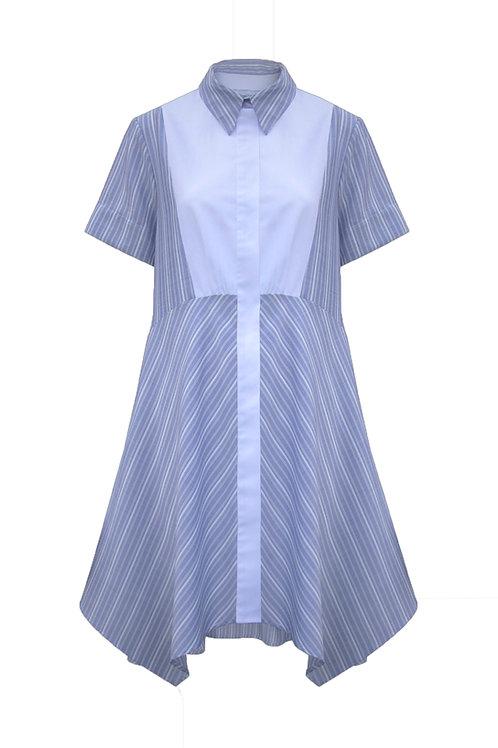 Cotton Asymmetrical Dress_Blue