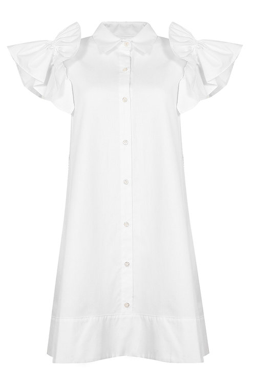 Cotton Shirt Dress - White