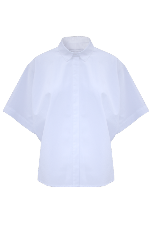 Cropped Oversized Shirt_ white