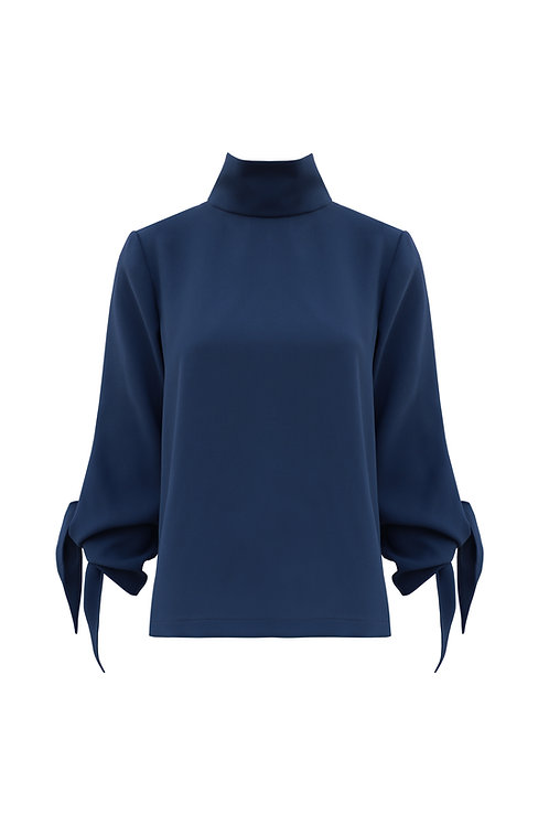 Mock Neck Top - Prussian Blue