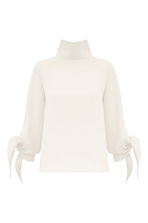 Mock Neck Top - White