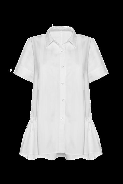 Short Sleeve Ruffle Shirt - White