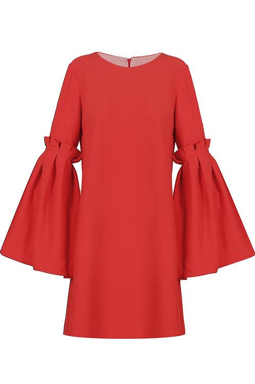 Lantern Sleeve Dress - Red