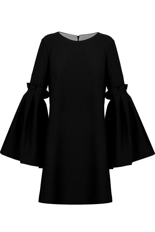 Lantern Sleeve Dress - Black