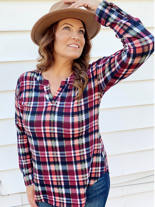 Ensley Plaid Top