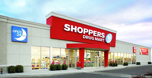 Photo taken of entrance to Shoppers Drug Mart.