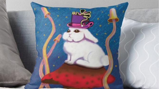White Rabbit Throw Pillow by Bearmunk