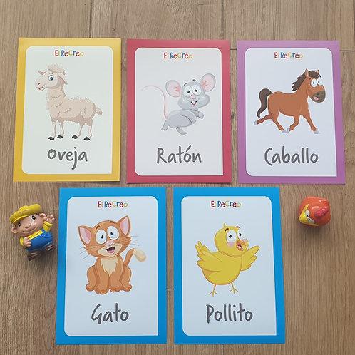 'Los animales de la granja' Spanish Flash cards - A5 Bright and colourful