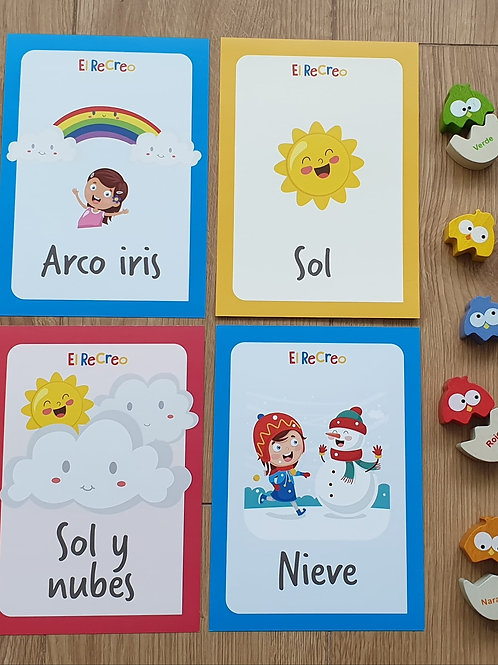 'El clima, las emociones' Spanish double-sided Flash cards - A5