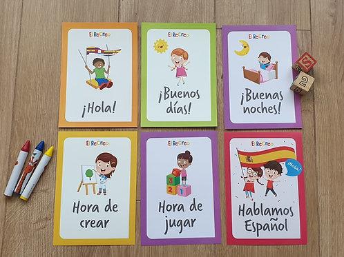 'Los saludos y Rutinas' Spanish double-sided Flash cards - A5