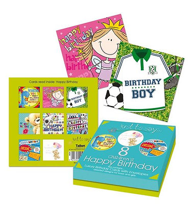 8 Boxed Childrens Birthday Cards