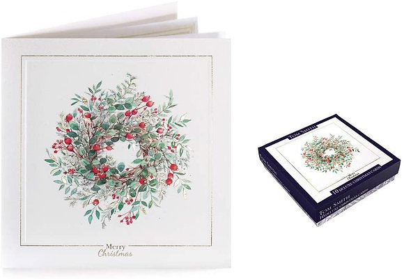10 Deluxe Embossed Boxed Christmas Cards - Wreath