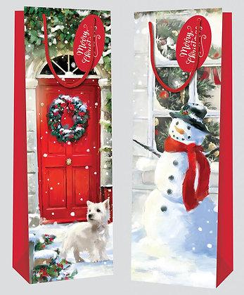 Snowman/Red Door Bottle Bag