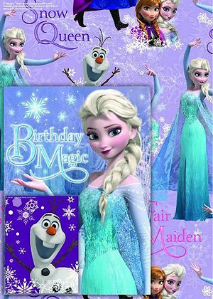 Frozen Gift Wrap Sheet & Tag