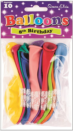"10 x 9"" Age 8 Balloons"