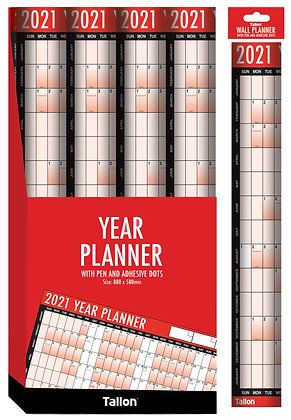 2021 Yearly Wall Planner & Pen