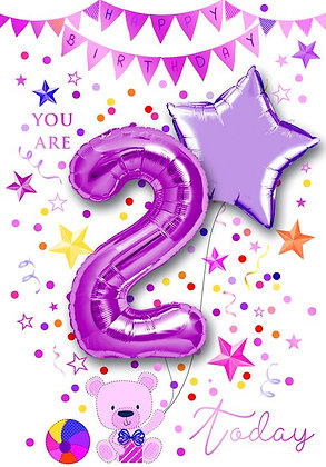 You Are 2 Today With 30cm Air Fill Pink Foil Balloon