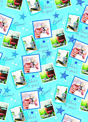 """""""Cheers"""" 2 x Sheet Gift Wrap & Tag"""
