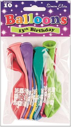 "10 x 9"" Age 13 Balloons"