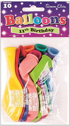 "10 x 9"" Age 11 Balloons"