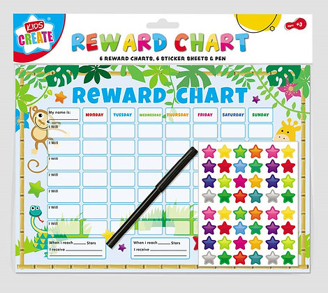 6 Reward Charts With Stickers & Pen