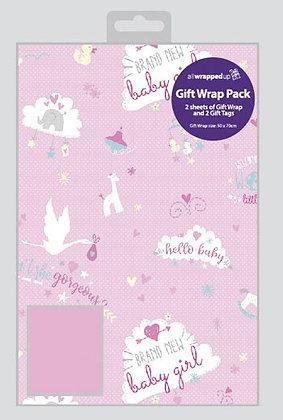 2 x Baby Girl Gift Wrap Sheet & Tags