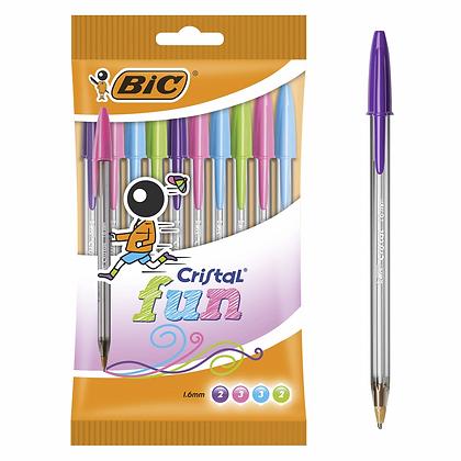 10 Bic Cristal Fun Ballpoint Pens