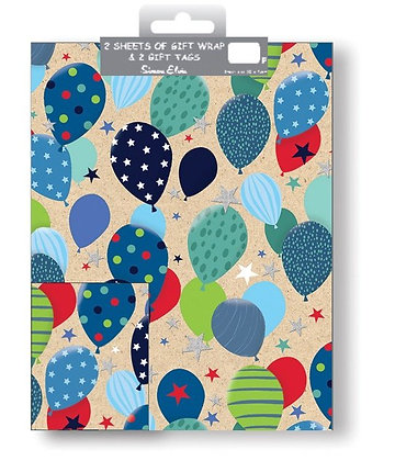 2 x Balloon Gift Wrap Sheet & Tags