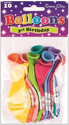 "10 x 9"" Age 3 Balloons"