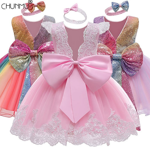 Infant Vestidos Baby Girl Clothes Baby Dress Lace Bowknot Costume 3-24 Month
