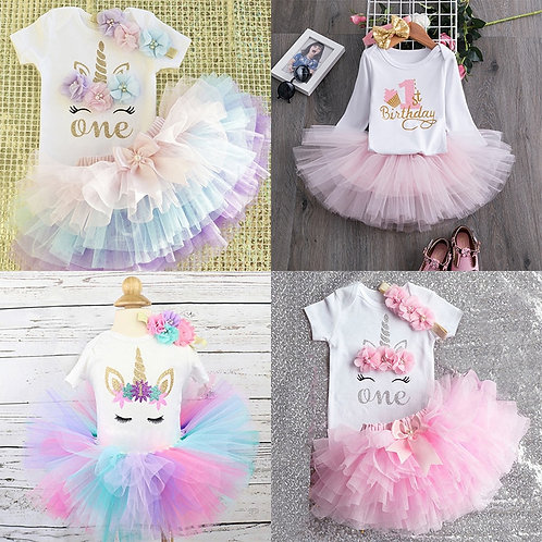 My Little Baby Girl First 1st Birthday Party Dress Cute Pink Tutu Cake Outfits