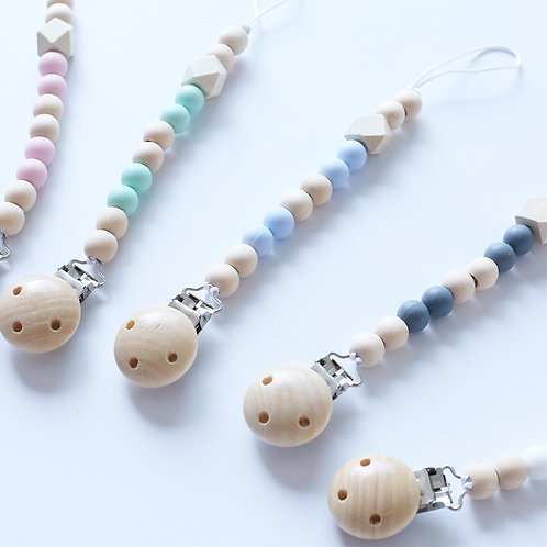 Baby Wooden Pacifier Clip Chain