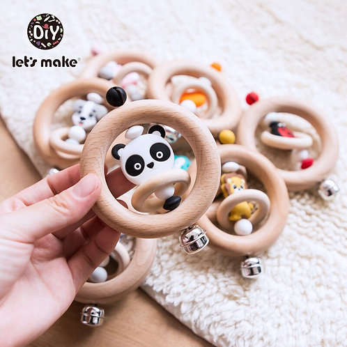 Baby Toys 1pc Silicone Beads Cartoon Rattle Teething Ring of Beech 0-12 Moths