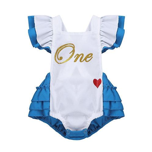 Infantil Baby Girls Fancy Flutter Sleeves Letters One Sweet-Heart Pattern Print