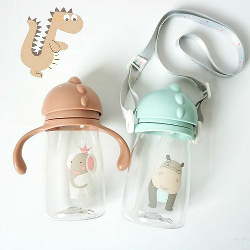 Kids Children Cartoon Animal School Drinking Water Straw Bottle Gravity Ball