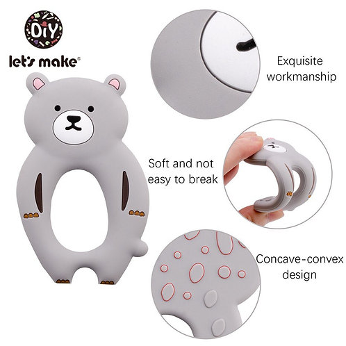 Let'S Make 1Pc Silicone Bear Teething Toy Baby Newborn Gift Pacifier Chain