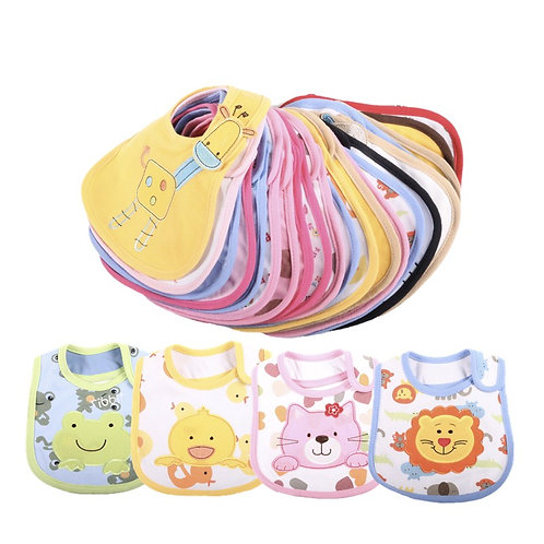 10PCS Baby Bibs Cotton Cute Cartoon Pattern