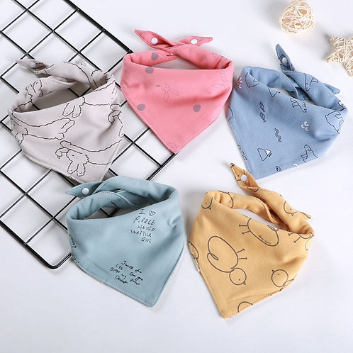 New Style Baby Bibs Drooling Cotton 5 Pieces/Lot Baby Scarf Burp Cloth Bandana