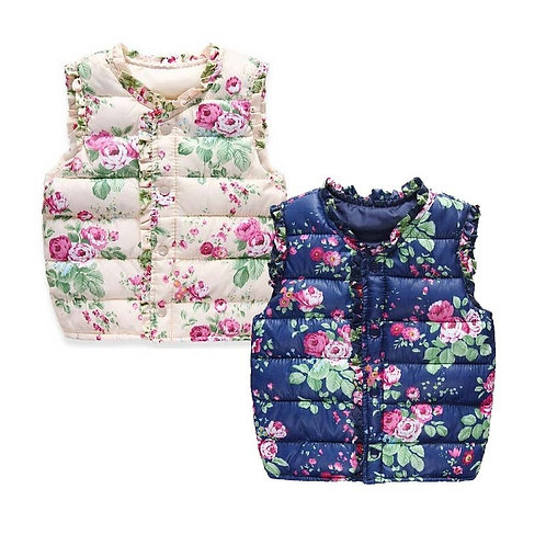 Winter Warm Infant Kids Baby Girls Floral Vest for Thermal Student Sleeveless