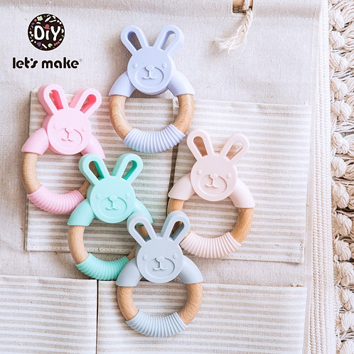 Let's Make Animal Silicone Teether Wooden Rabbit Ring 1PC BPA Free Accessories