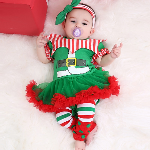Infant Girls' Romper Dress Festival Christmas Costume Set Short Sleeve