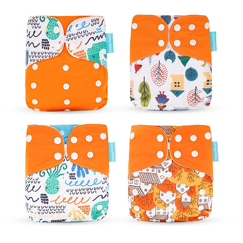 Happyflute 2019 New Fashion Style Baby Nappy 4pcs/Set Diaper Cover Waterproof