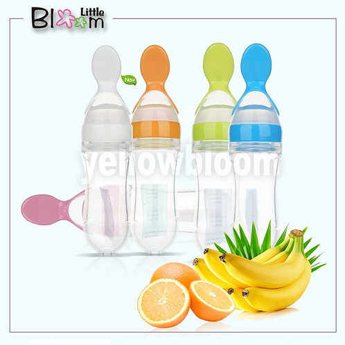 Baby Squeezing Feeding Spoon Silicone Training Scoop Rice Cereal Food Supplement