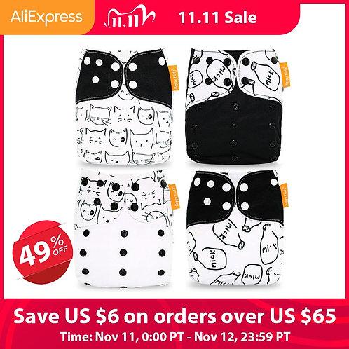Happy Flute Cloth Diapers for Children Adjustable Wet/Dry Bag Waterproof Babies